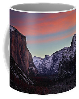 Sunrise Over Yosemite Valley In Winter Coffee Mug