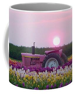 Sunrise Pink Greets John Deere Tractor Coffee Mug by Susan Garren