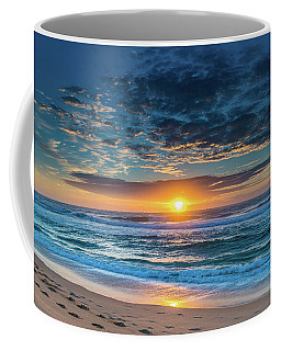 Sunrise Seascape With Footprints In The Sand Coffee Mug