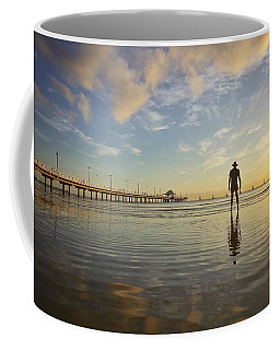 Sunrise Silhouette Down By The Pier. Coffee Mug