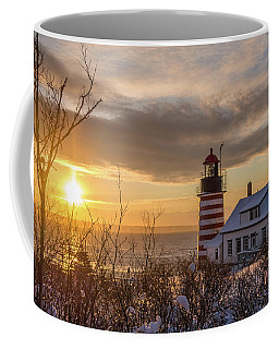 Coffee Mug featuring the photograph Sunrise West Quoddy Lighthouse by Trace Kittrell