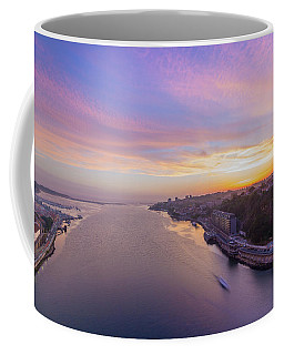 Sunset And A Small Boat Coffee Mug