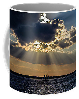 Sunset And A Three Masted Schooner Coffee Mug