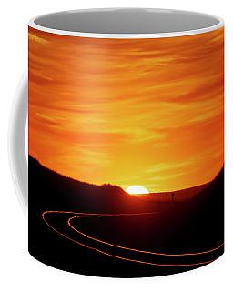 Sunset And Railroad Tracks Coffee Mug