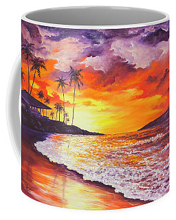 Coffee Mug featuring the painting Sunset At Kapalua Bay by Darice Machel McGuire