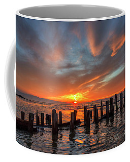 Coffee Mug featuring the photograph Sunset At Old Saltair Piers by Spencer Baugh