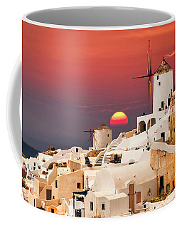 sunset at Santorini Coffee Mug