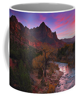 Sunset At The Watchman During Autumn At Zion National Park Coffee Mug