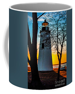 Coffee Mug featuring the photograph Sunset At Turkey Point Lighthouse by Nick Zelinsky