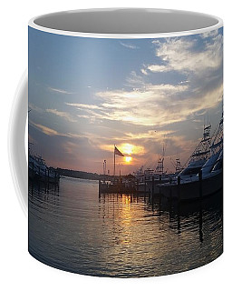 Coffee Mug featuring the photograph Sunset At White Marlin Marina by Robert Banach
