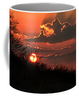 Coffee Mug featuring the photograph Sunset Behind A Knoll by William Selander