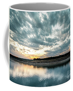 Sunset Behind Small Hill With Storm Clouds In The Sky Coffee Mug