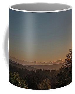 Sunset Behind Tree With Forest And Mountains In The Background Coffee Mug