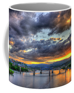 Sunset Bridges Of Chattanooga Walnut Street Market Street Coffee Mug