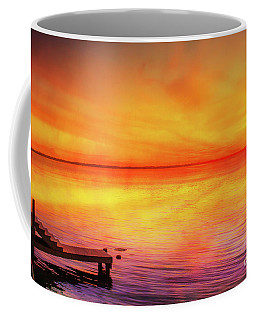 Coffee Mug featuring the digital art Sunset By The Shore by Randy Steele
