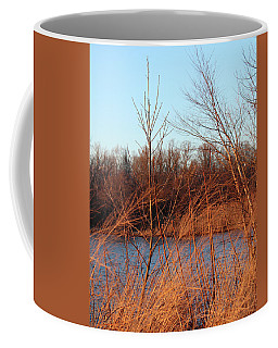 Coffee Mug featuring the photograph Sunset Field Over Water by Melinda Blackman