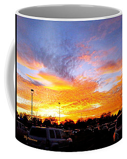 Coffee Mug featuring the pyrography Sunset Forecast by Elly Potamianos