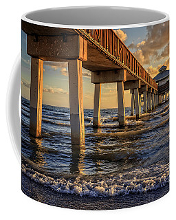 Coffee Mug featuring the photograph Sunset Fort Myers Beach Fishing Pier by Edward Fielding