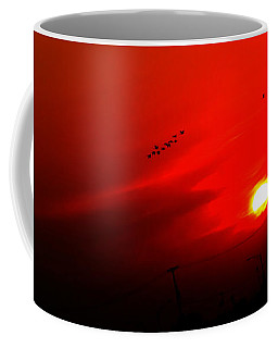 Sunset Geese Leaving Disappearing City - 0814  Coffee Mug