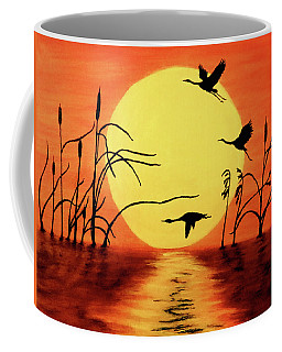 Coffee Mug featuring the painting Sunset Geese by Teresa Wing