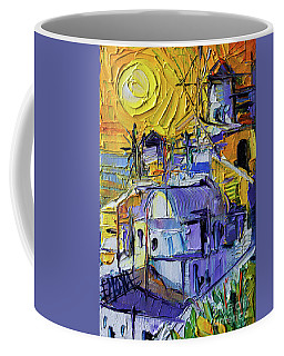 Sunset Light In Oia - Mini Santorini Cityscape 02 - Palette Knife Oil Painting Coffee Mug