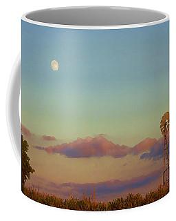 Sunset Moonrise With Windmill  Coffee Mug
