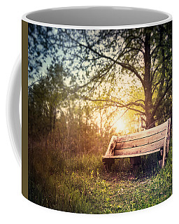Sunset On A Wooden Bench Coffee Mug