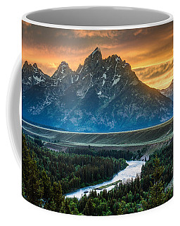 Sunset On Grand Teton And Snake River Coffee Mug