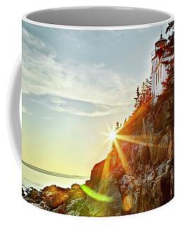 Ocean Sunset On Maine's Bass Harbor Lighthouse Coffee Mug