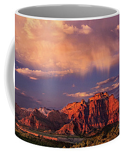 Coffee Mug featuring the photograph Sunset On West Temple Zion National Park by Dave Welling