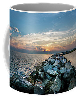 Sunset Over A Rock Jetty On The Chesapeake Bay Coffee Mug
