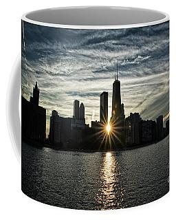 Sunset Over Chicago Skyline And Lake Michigan Coffee Mug