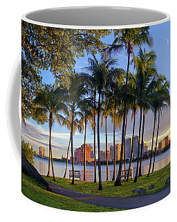 Sunset Over Downtown West Palm Beach From Palm Beach Island Coffee Mug by Justin Kelefas