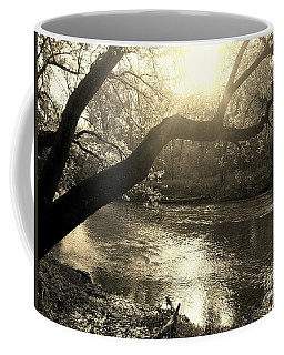 Sunset Over Flat Rock River - Southern Indiana - Sepia Coffee Mug