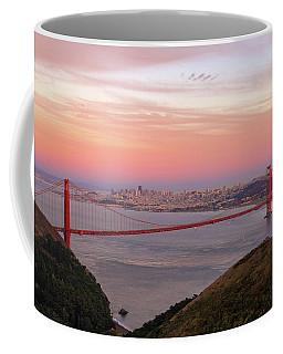 Sunset Over Golden Gate Bridge And San Francisco Skyline Coffee Mug
