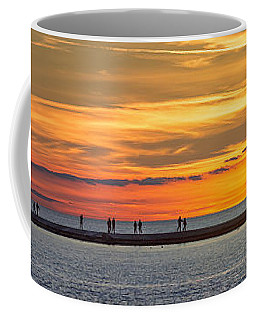Coffee Mug featuring the photograph Sunset Over Ludington Panoramic by Adam Romanowicz