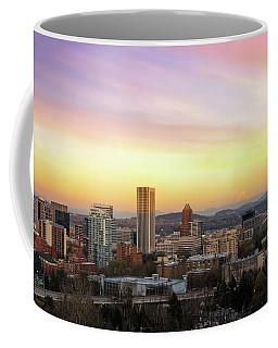 Sunset Over Portland Cityscape And Mt Hood Coffee Mug