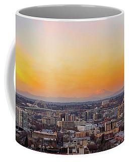 Sunset Over Portland Cityscape And Mt Saint Helens Coffee Mug
