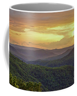 Coffee Mug featuring the photograph Sunset Over The Bluestone Gorge - Pipestem State Park by Kerri Farley
