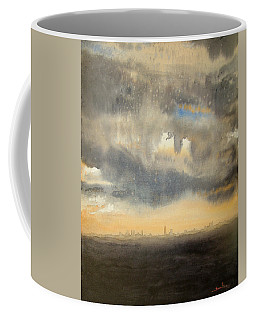Coffee Mug featuring the painting Sunset Over The City by Andrew King