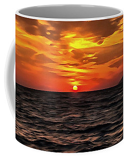 Coffee Mug featuring the painting Sunset Over The Mediterranean Sea by Tracey Harrington-Simpson