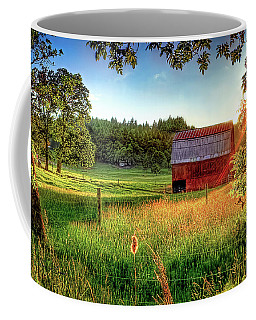 Sunset Over The Old Barn Coffee Mug