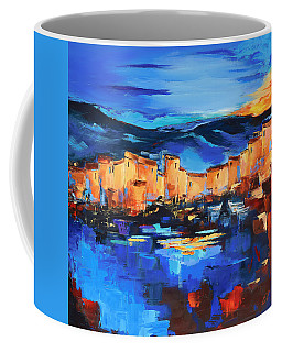 Coffee Mug featuring the painting Sunset Over The Village 2 By Elise Palmigiani by Elise Palmigiani