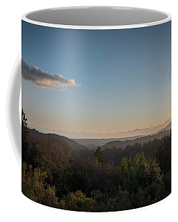 Sunset Over Top Of Dense Forest Coffee Mug