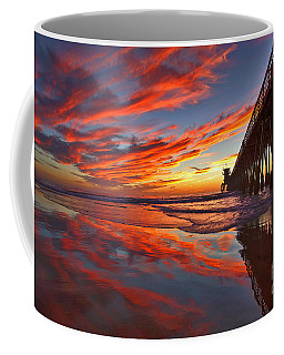 Sunset Reflections At The Imperial Beach Pier Coffee Mug