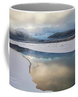Sunset River Reflections With Fog Coffee Mug