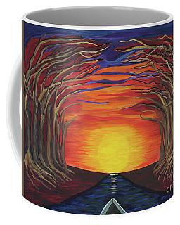 Treetop Sunset River Sail Coffee Mug