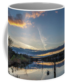 Coffee Mug featuring the photograph Sunset Shining Cloud Reflected On Large Lake by PorqueNo Studios