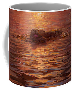 Sunset Snuggle - Sea Otters Floating With Kelp At Dusk Coffee Mug by Karen Whitworth