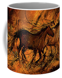 Sunset Stride - Horses In The Wild Sepia Painting Coffee Mug
